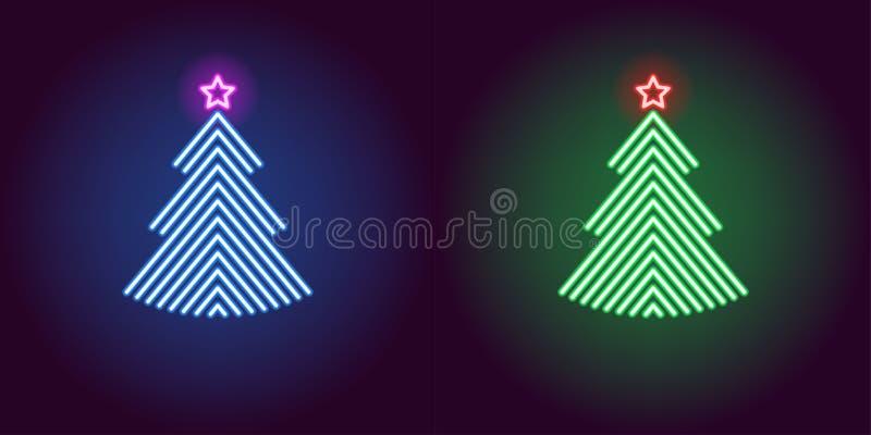 Neonowa choinka, jarzy się xmas drzewa wektor ilustracji
