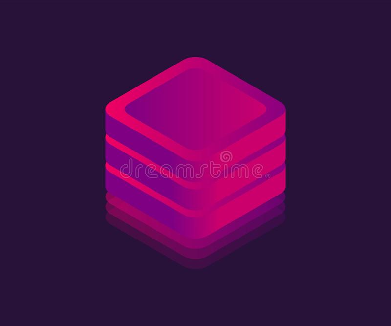 Neonowa du?a dane magazynu isometric ikona Abstrakcjonistyczny sze?cian, Neonowy blok, Wektorowa 3D ilustracja ilustracji
