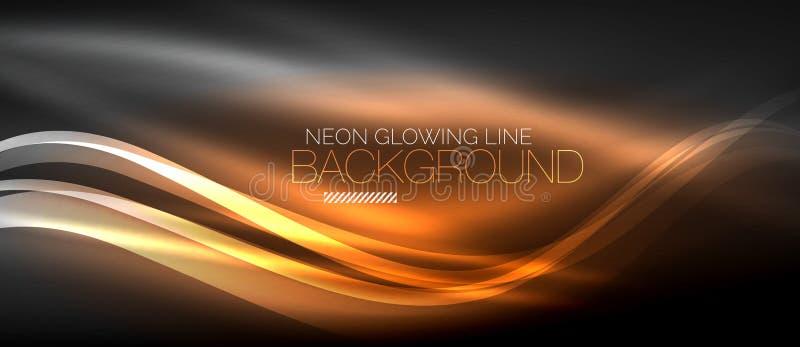 Neonowa elegancka gładka fala wykłada cyfrowego abstrakcjonistycznego tło ilustracji