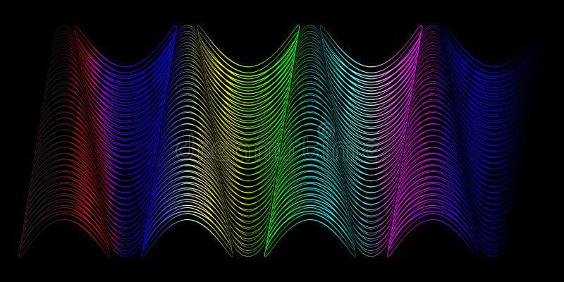 Neonowa fala od gładkich linii dźwięk i światło w formie o ilustracji