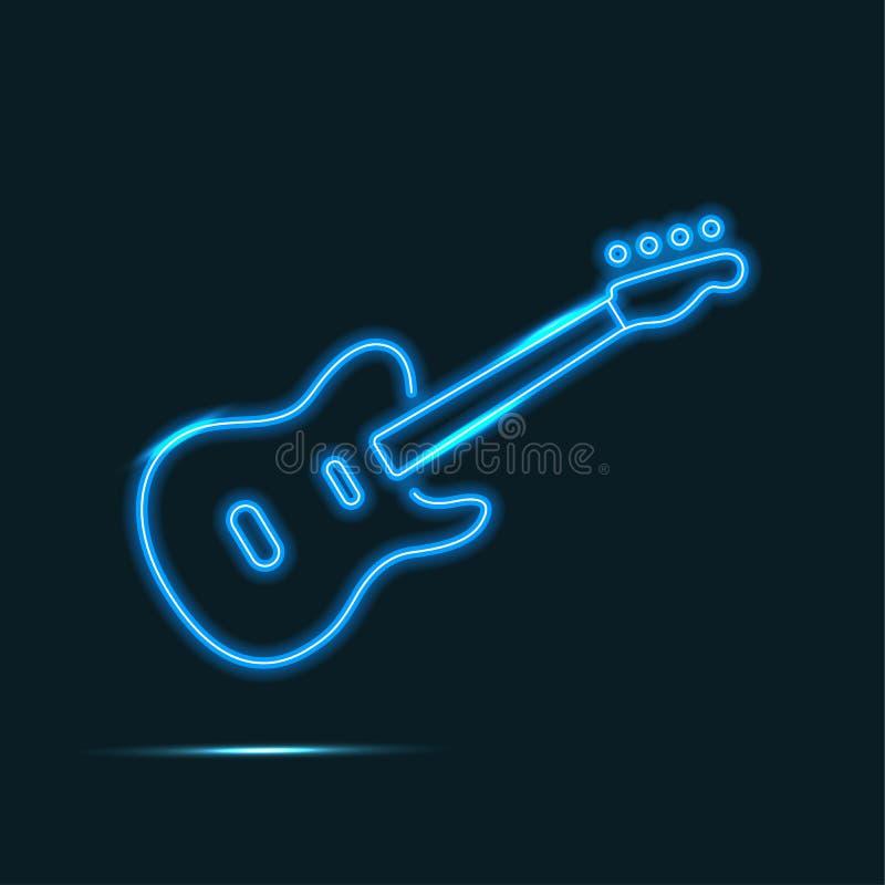 Neonowa gitara royalty ilustracja