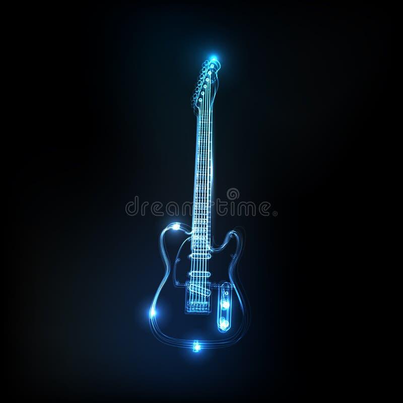 Neonowa gitara ilustracji