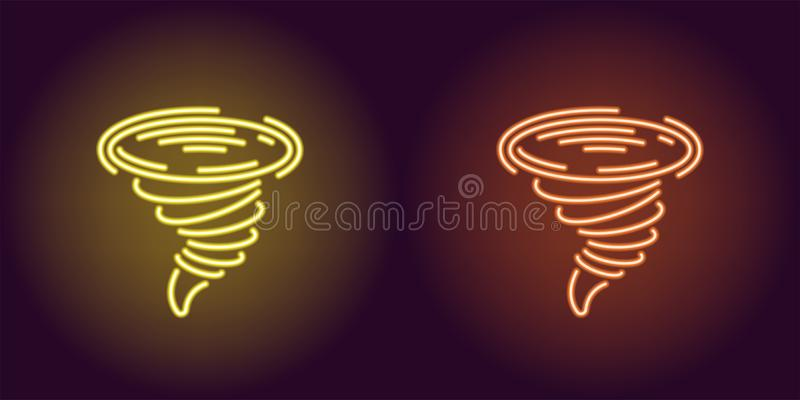 Neonowa ikona Żółty i Pomarańczowy tornado ilustracji