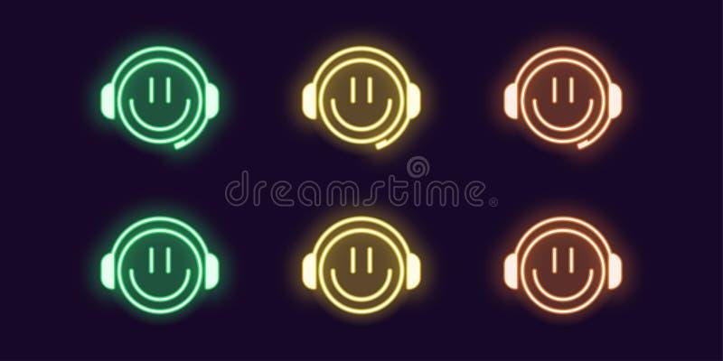 Neonowa ikona ustawiająca emoji Gamer z hełmofonami ilustracji