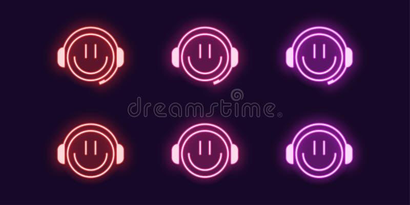 Neonowa ikona ustawiaj?ca emoji Gamer z he?mofonami ilustracja wektor