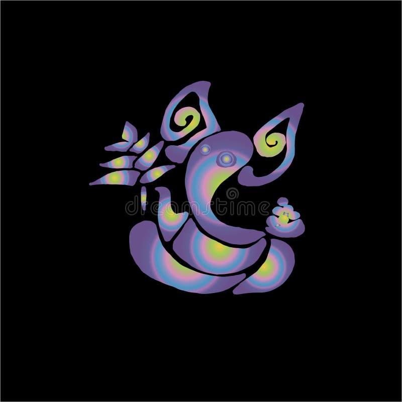 Neonowa ilustracja Indiański bóstwo Ganesha - symbol dobrobyt Minimalizmu styl ilustracji