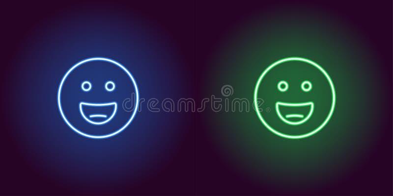 Neonowa ilustracja uśmiechający się emoji przygotowywa ikonę ilustracja wektor