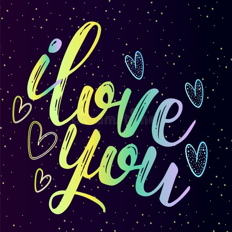 Neonowa inskrypcja jest deklaracją miłość, Ja kocha ciebie royalty ilustracja