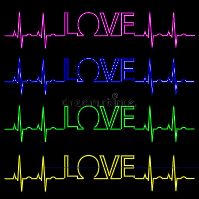 Neonowa inskrypcja kocham ciebie z pulsem kresk?wki serc biegunowy setu wektor ilustracji