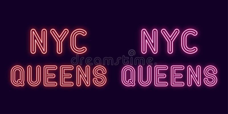 Neonowa inskrypcja Nowy Jork miasto, queens podgrodzie Wektorowa ilustracja, neonowy tekst NYC queens z rozjarzonym backlight, cz royalty ilustracja
