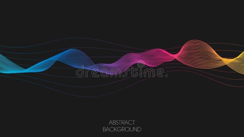 Neonowa kolorowa abstrakcjonistyczna wektor fala wykłada błękit, kolor żółty i purpura barwi odosobnionego na czarnym tle dla pro ilustracja wektor