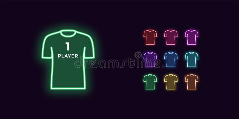 Neonowa koszulki ikona, gracz lub Gamer, Sport koszula royalty ilustracja