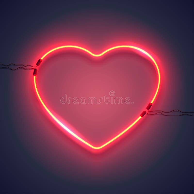 Neonowa lampa heart-01 ilustracji
