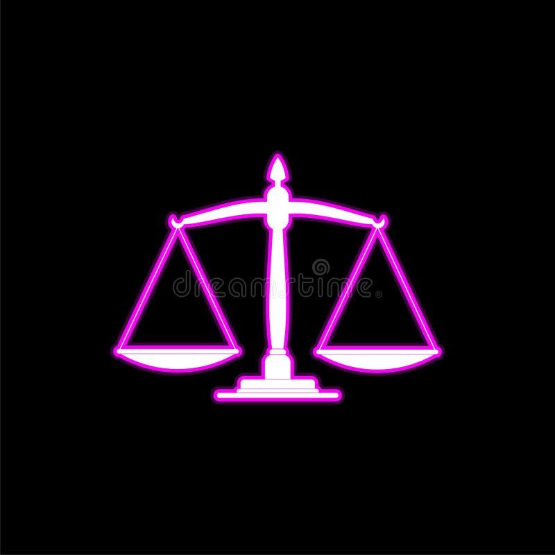 Neonowa libra ikona, sprawiedliwości szalkowa ikona ilustracja wektor