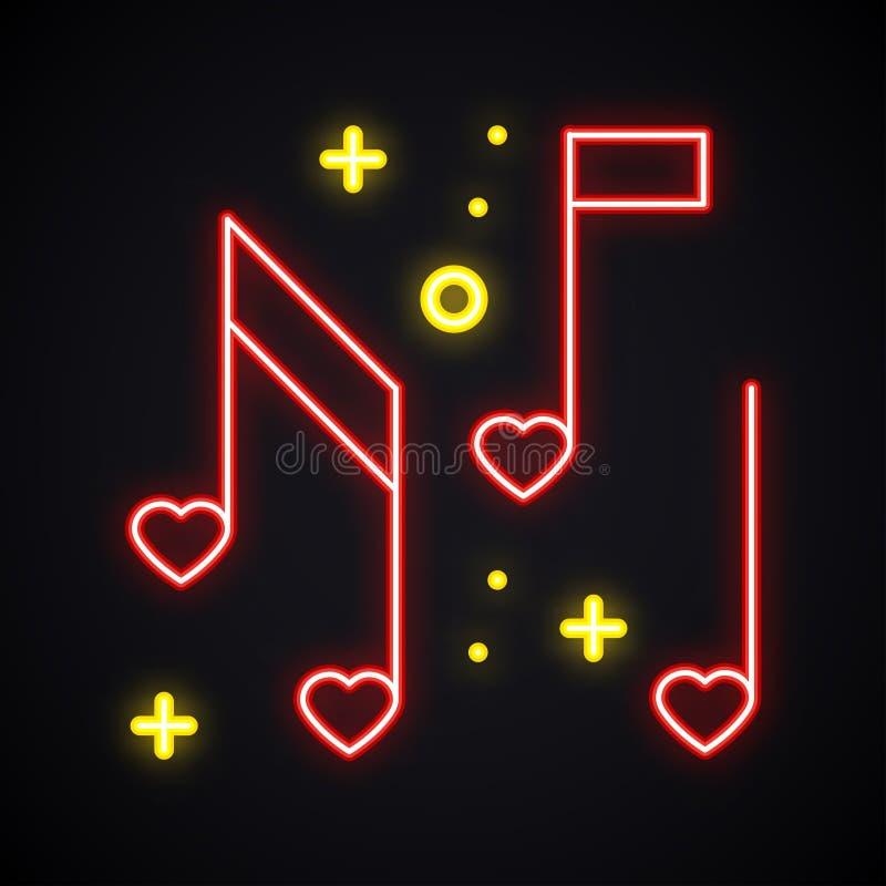 Neonowa muzyki notatka z serce znakiem Rozjarzonego karaoke muzyczny symbol Ulubiona piosenka Klub, rejestr, dyskoteka, taniec, ż ilustracji