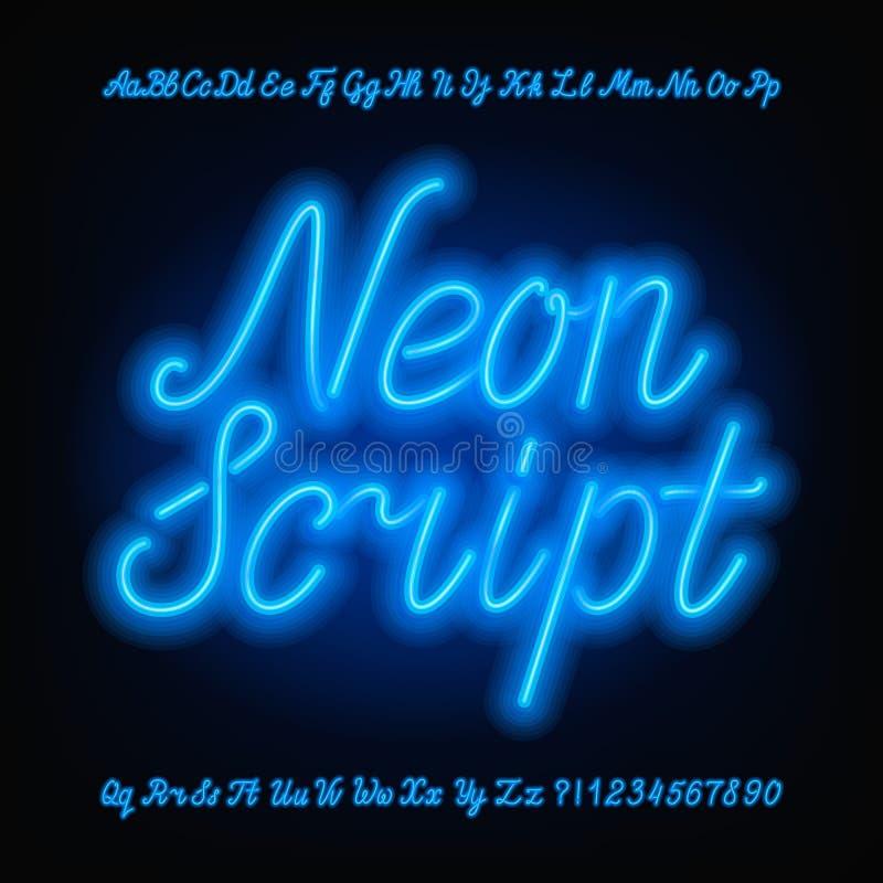 Neonowa pisma abecadła chrzcielnica Błękitni neonowi uppercase, lowercase listy i ilustracji