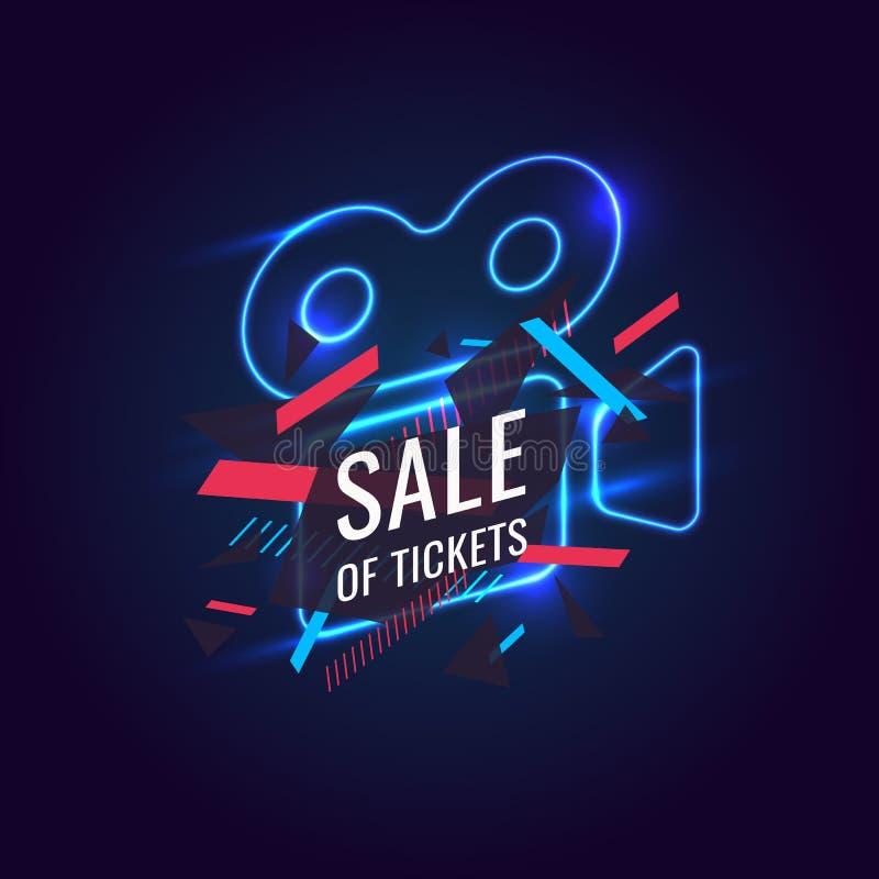 Neonowa plakatowa sprzedaż bilety Nowożytne grafika, rabaty na filmu ilustracji