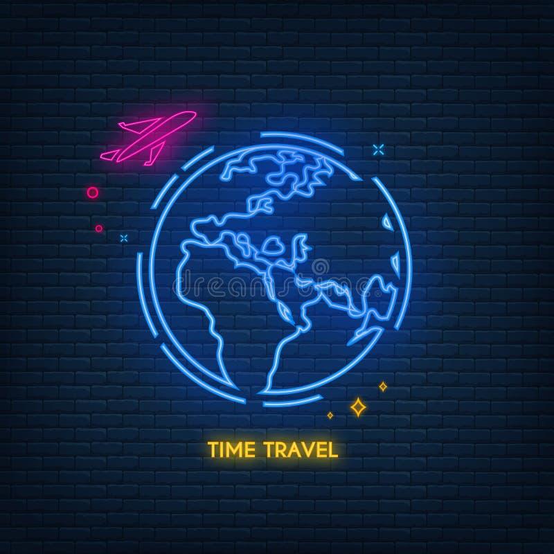 Neonowa podróży powietrznej linii ikona Samolot, podr??, transport Linii lotniczej poj?cie Wektorowa ilustracja może używać dla t ilustracja wektor