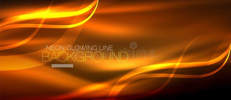 Neonowa pomarańczowa elegancka gładka fala wykłada cyfrowego abstrakcjonistycznego tło ilustracja wektor