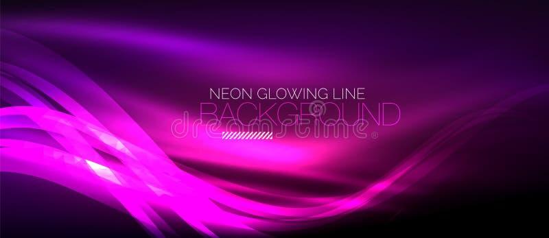 Neonowa purpurowa elegancka gładka fala wykłada cyfrowego abstrakcjonistycznego tło ilustracji
