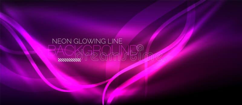 Neonowa purpurowa elegancka gładka fala wykłada cyfrowego abstrakcjonistycznego tło ilustracja wektor