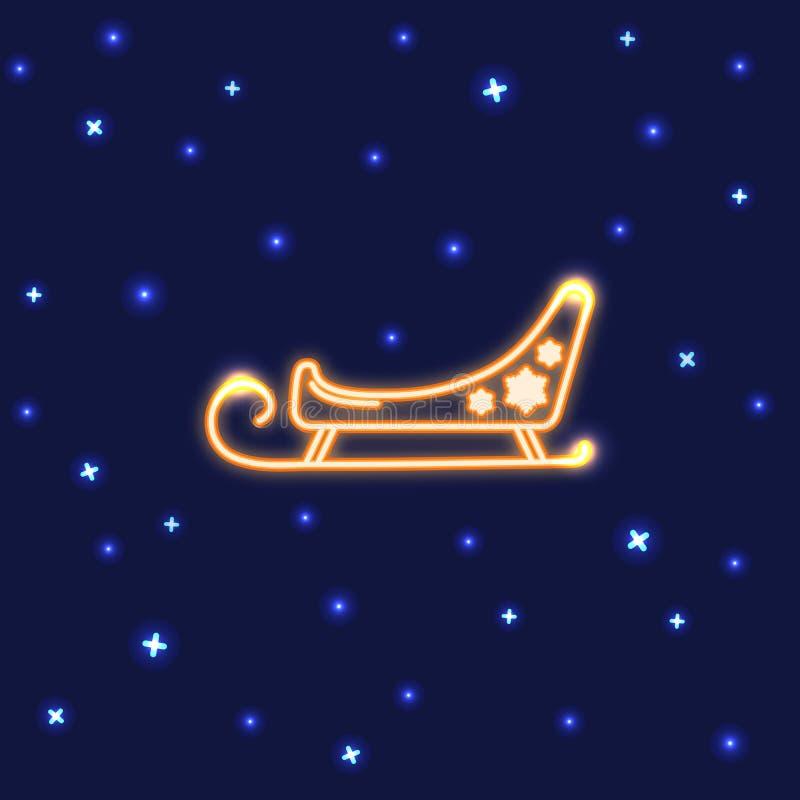Neonowa Santa sania ikona w kreskowym stylu royalty ilustracja
