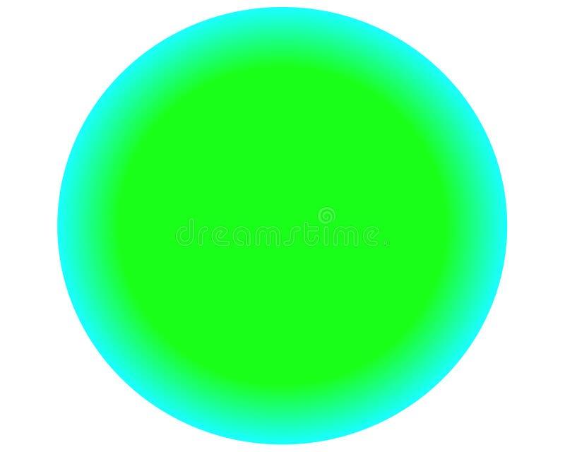 Neonowa zielona błękitna okrąg piłka na białym tle royalty ilustracja