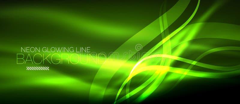 Neonowa zielona elegancka gładka fala wykłada cyfrowego abstrakcjonistycznego tło ilustracja wektor