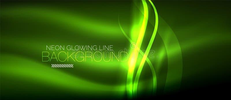 Neonowa zielona elegancka gładka fala wykłada cyfrowego abstrakcjonistycznego tło ilustracji