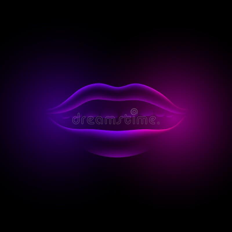 Neonowe fiołkowe rozjarzone żeńskie wargi 3d dziewczyny fluorescencyjny wirtualny usta na czarnym tle royalty ilustracja