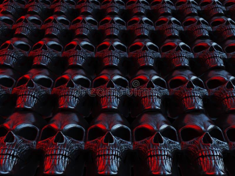 Neonowe horroru ciężkiego metalu czaszki zdjęcie royalty free