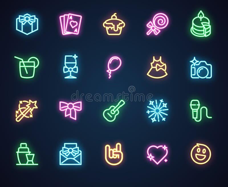 Neonowe ikony dla muzyki, wakacje, romantyczny, partyjny temat, 20 fluorescencyjnych etykietek odizolowywających na czerni Reklam royalty ilustracja