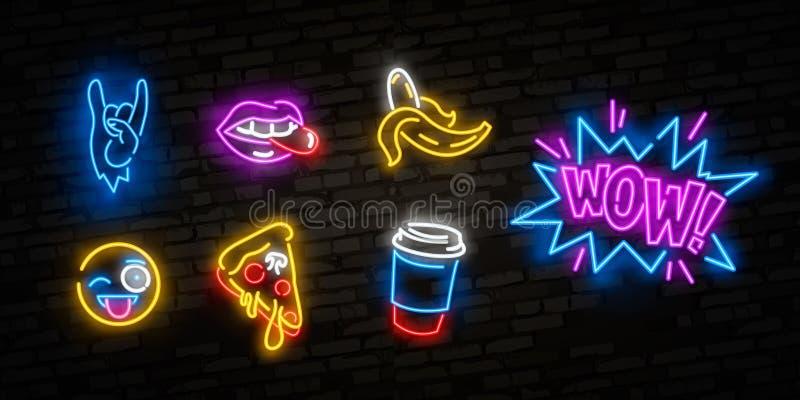 Neonowe ikony ustawiać w 80s-90s wystrzału sztuki komiczce projektują Łata odznaki i szpilki z postaciami z kreskówki, jedzeniem  ilustracji