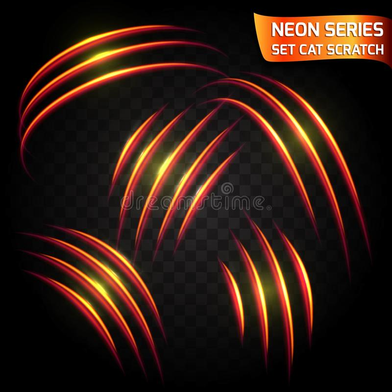 Neonowe serie ustawiać kota narys Jaskrawy neonowy rozjarzony skutek ilustracja wektor