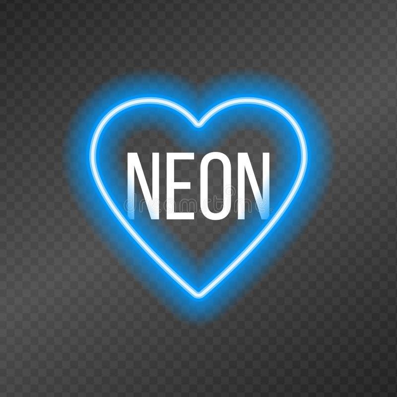 Neonowe tubki w formie serca odizolowywającego na ciemnej przezroczystości siatce royalty ilustracja