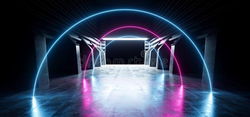 Neonowego ?uku Sci Fi betonu korytarza korytarza tunelu magazynu Podziemnego gara?u Grunge Purpurowy B??kitny Jarzy si? Futurysty royalty ilustracja