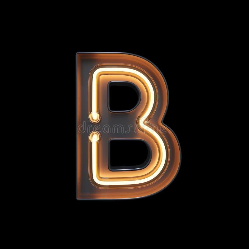 Neonowego światła abecadła b z ścinek ścieżką ilustracja wektor