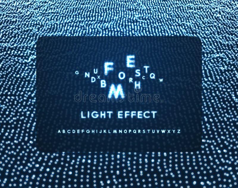 Neonowego światła abecadło kropkowana chrzcielnica Abstrakcjonistyczny wektorowy tło z listowymi znakami royalty ilustracja