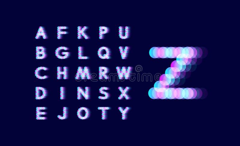 Neonowego światła abecadło kropkowana chrzcielnica Abstrakcjonistyczny wektorowy tło z listowymi znakami cztery elementy projektu royalty ilustracja
