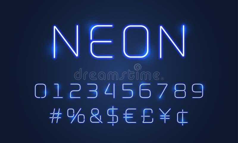 Neonowego światła chrzcielnicy abecadła liczby, specjalni symbole Wektorowa błękitna neonowych tubk abecadła jarzeniowa chrzcieln royalty ilustracja