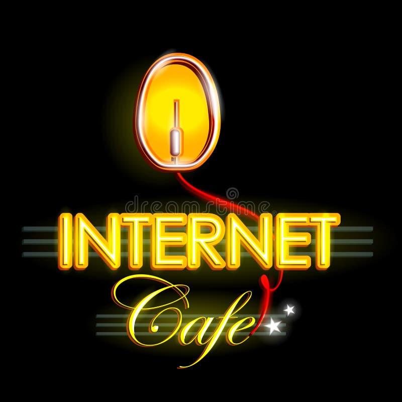 Neonowego światła signboard dla Internetowej kawiarni ilustracji