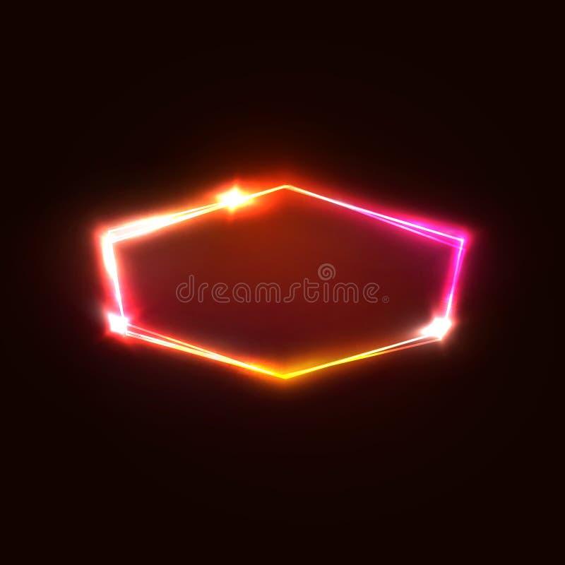 Neonowego światła sześciokąt na zmroku - czerwony tło ilustracja wektor