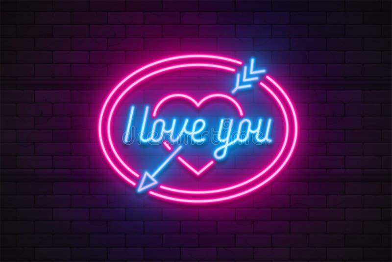 Neonowego światła walentynki ` s dzień kocham ciebie karcianego royalty ilustracja