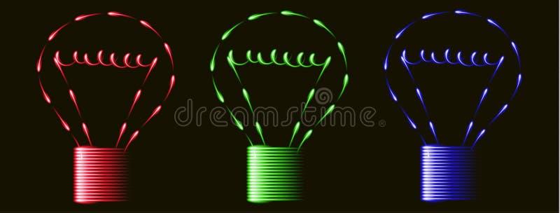 Neonowego fenfire zielonego światła czerwone błękitne żarówki, pomysł, czarny tło ilustracja wektor