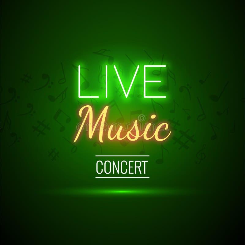 Neonowego muzyka na żywo koncerta tła Akustyczny Partyjny Plakatowy szablon z teksta znaka sceną i światłem reflektorów ilustracja wektor