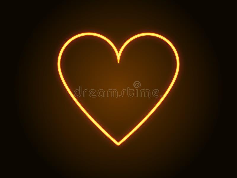 Neonowego serce znaka żółty kolor wektor ilustracji