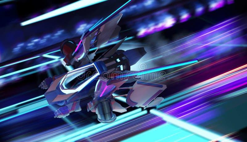 Neonowego statku kosmicznego latający ruch ilustracji