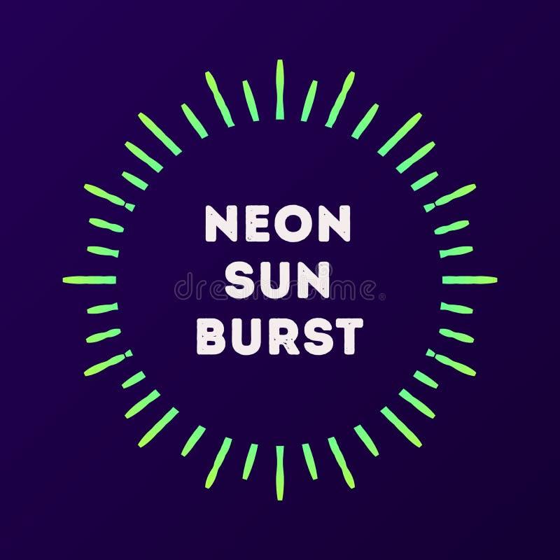 Neonowego sunburst zielony kolor ilustracja wektor