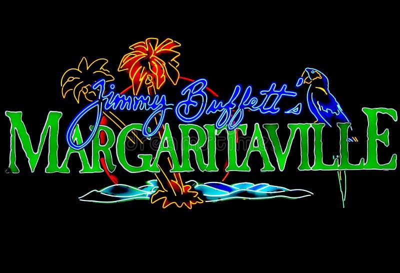 Neonowego znaka Jimmy bufeta Margaritaville przy centrum handlowym Ameryka obrazy royalty free