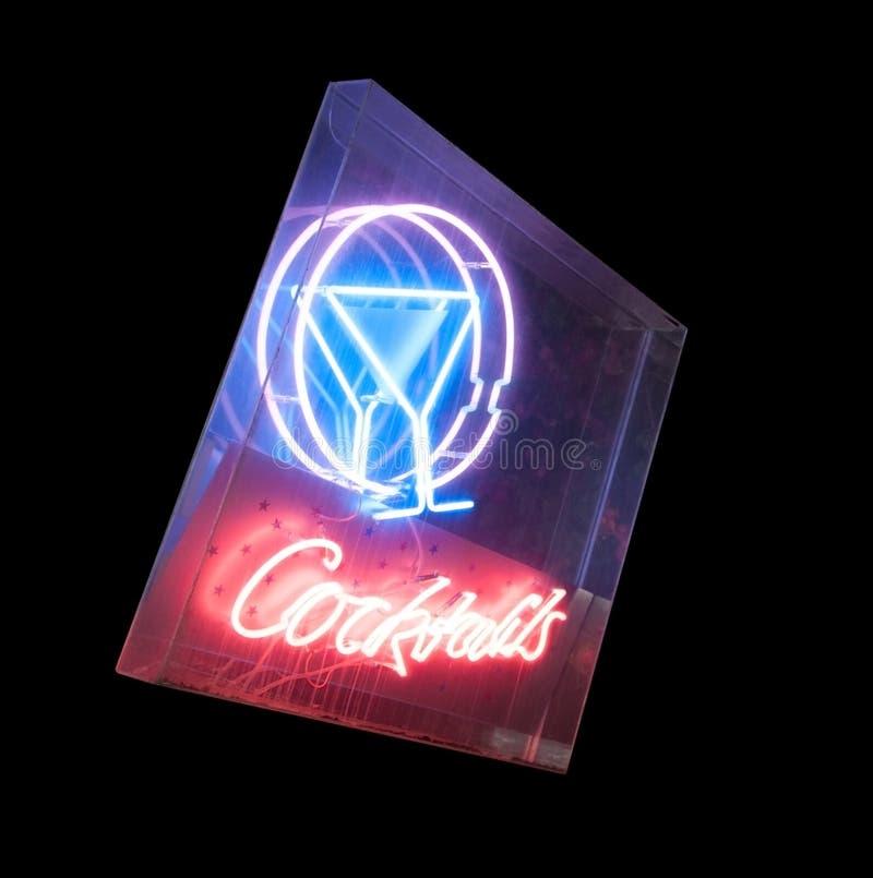 Neonowego znaka koktajl odizolowywający obraz stock